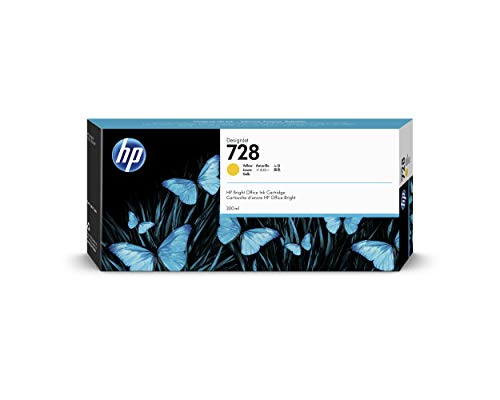 HP 728 F9K15A Yellow 300-ml Genuine Ink Cartridge, High Capacity, with Original HP Ink, for HP DesignJet T730 and T830 Large Format Plotter Printers and HP 729 DesignJet Printhead from HP