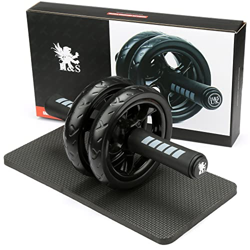 H&S Ab Abdominal Exercise Roller With Extra Thick Knee Pad Mat - Body Fitness Strength Training Machine AB Wheel Gym Tool from H&S