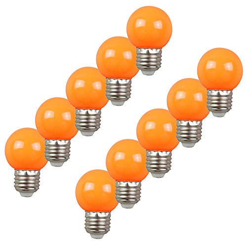 Colored Bulbs LED 2W E27 G45 Lighting Bulb for Party Lighting,Outdoor Patio Party Christmas,LED Coloured GolfBall Bulb - Orange from HUAMu