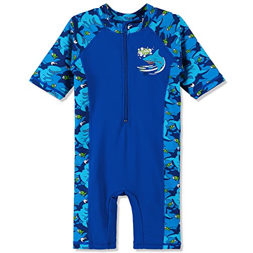 HUAANIUE Boys One Piece Swimsuit 3-10Y 50+UV Swimming Costume Outfits 3-4Y NavyBlue from HUAANIUE