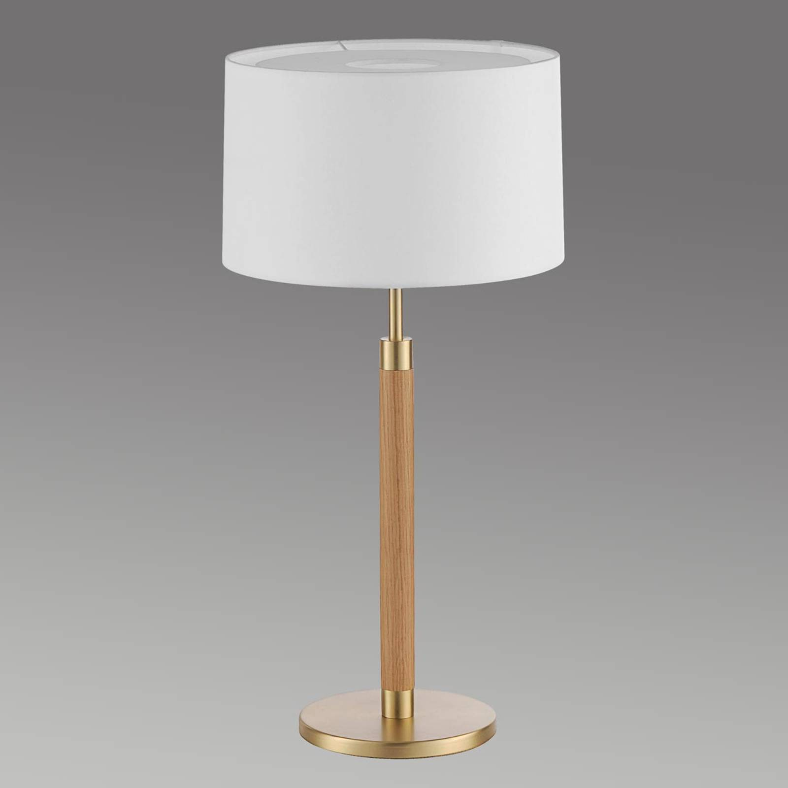 Wooden table lamp Lignum, chintz lampshade, brass from Hufnagel