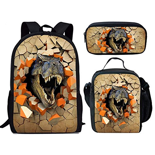 HUGS IDEA Animal Dinosaur Backpack Set Kids Boys School Bag Bookag with Insulted Lunchbag Pencil Case 3 in 1 from HUGS IDEA