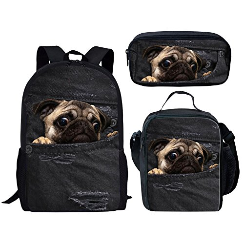 HUGS IDEA Children School Bag Set Denim Pug Black Backpack with Lunch Boxes Pencil Case for Teen Boys Girls from HUGS IDEA