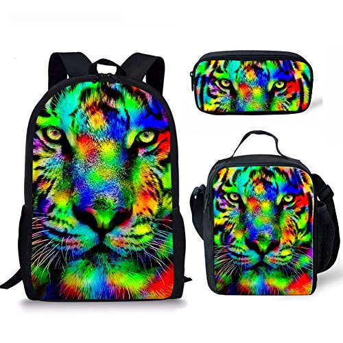 HUGS IDEA Colorful Tiger Backpack Set 3D Animal School Shoulder Bag Lunch Boxes Pencil Case for Teen Boys from HUGS IDEA