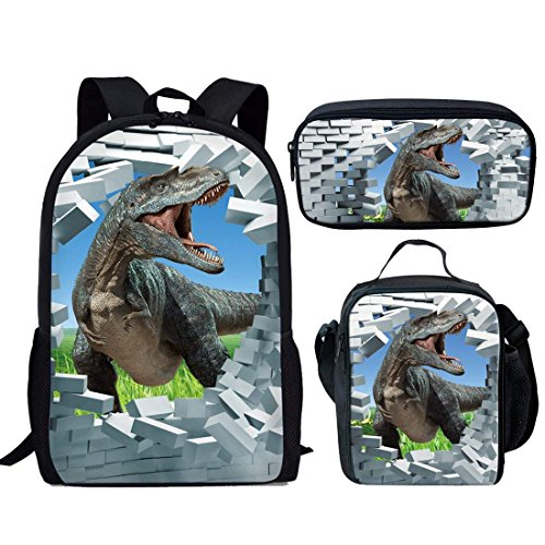 HUGS IDEA Cool Dinosaur T-rex Backpack Set Kids Boys School Bag and Lunchboxes Pencil Case from HUGS IDEA