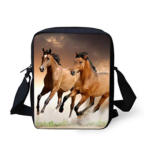 HUGS IDEA Horse Pattern Casual Small Women's Shoulder Bags Travel Cell Phone Pouch Messenger Sling Bag from HUGS IDEA