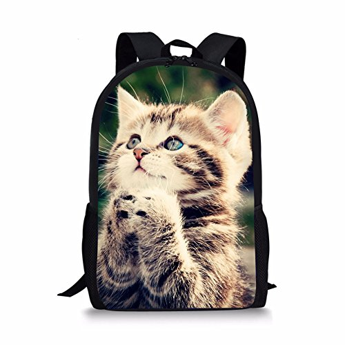 HUGS IDEA Cute Kids School Bag Shoulder Bookbag Cat Printing Backpack for Teen Boys Girls from HUGS IDEA