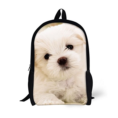 HUGSIDEA Cute Kids School Bag Bookbag Puppy Printed Backpack for Teenagers Girls Casual Travel Bags from HUGS IDEA