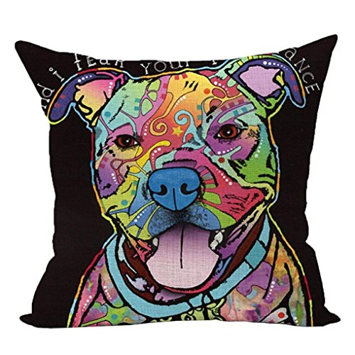45cm*45cm Pillow Case, HUHU833 Cute Dog Sofa Bed Home Decoration Festival Pillow Case Cushion Cover (Dog D) from HUHU833