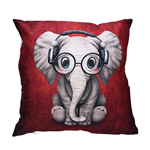 HUHU833 45 * 45cm Print Pillow Cases Polyester Sofa Car Cushion Cover (Elephant) from HUHU833
