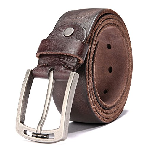 HZHY Men's Leather Belt,100% Full Grain Leather with Anti-Scratch Pin Buckle,Great for Jeans & Casual Wear & Cowboy Wear & Work Clothes (125cm (40''- 48''), Type 1-2) from HZHY