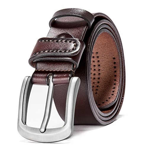 HZHY Men Belts for Jeans,100% Full Grain Leather with Anti-Scratch Pin Buckle,Great for Jeans & Casual Wear & Cowboy Wear & Work Clothes (125cm (39''- 44''), Type 82483) from HZHY