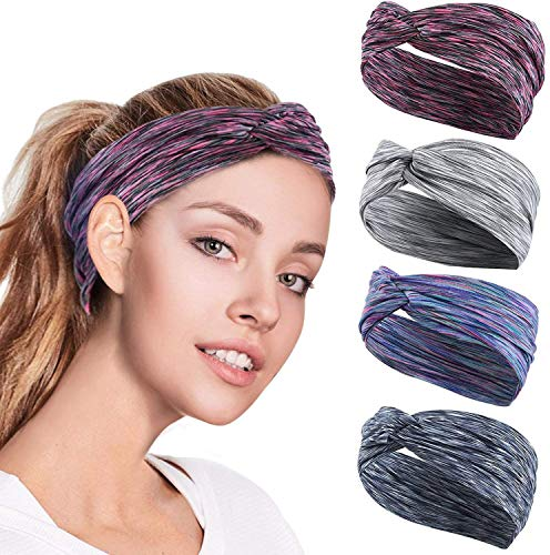 GoHZQ 4PCS Women Workout Headband Lightweight Soft Wicking Stretchy Head Wrap Ideal for Sports/Yoga/Pilates/Dancing/Running/Cycling/Fitness Exercise/Travel (style 1) from GoHZQ