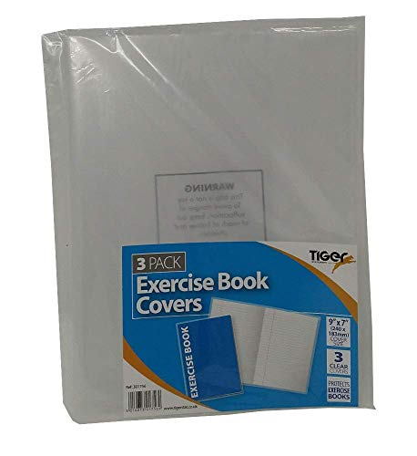 A5 Clear Exercise Book Covers (240mm x 180mm) Strong Plastic Protecting Sleeves School Notebook (3 Pack) from Tiger Stationery