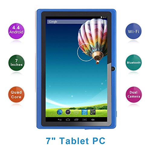 Haehne 7 Inch Tablet PC, Google Android 4.4 Quad Core, 512MB RAM 8GB ROM, Dual Cameras, Capacitive Touch Screen, WiFi, Bluetooth, for Adult Kids, Blue from Haehne