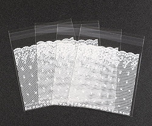 Haifly 200 Pcs Clear Cellophane Bags Self Adhesive Lace Wedding Party Favor Bags for Biscuit Cookie Chocolate 10*10 cm from Haifly