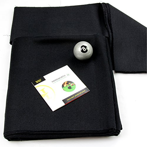 7ft BLACK Hainsworth Elite-Pro Pool Table Cloth - FREE Silver 8 Ball from Hainsworth