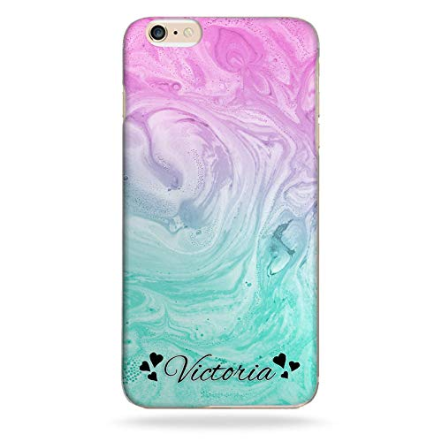 Personalised 6 Heart Name Phone Case Pink Green Marble Swirl Effect Hard Cover for Apple iPod touch (6th Gen) from Hairyworm