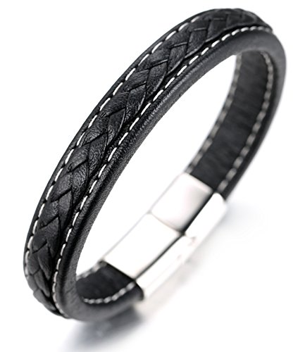 "Halukakah ● Dynasty ● Men's Genuine Leather Bracelet ,Handmade White Cotton Thread,Titanium Clasp with Magnets Silver 8.46""(21.5cm) with FREE Giftbox from Halukakah"