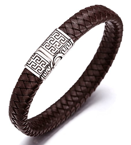 "Halukakah ""SOLO"" Men's Genuine Leather Bracelet Titanium Magnetic Clasp 8.07""(21cm) with FREE Giftbox (Brown) from Halukakah"
