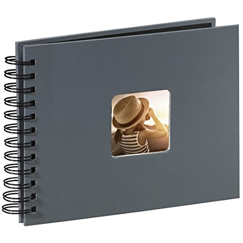 Hama Fine Art photo album, 50 black pages (25 sheets), spiral bound album 24 x 17 cm, with cut-out window in which can be inserted, grey from Hama