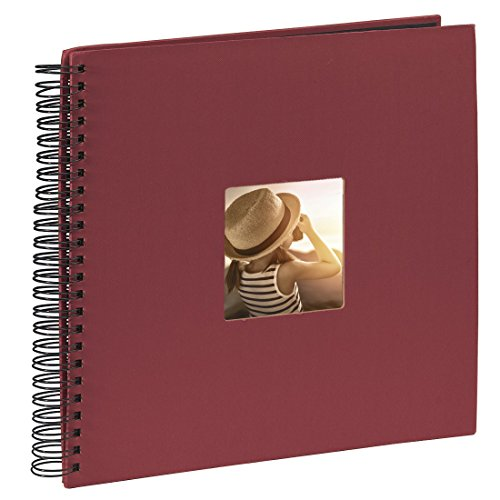 Hama Fine Art photo album, 50 black pages (25 sheets), spiral bound album 36 x 32 cm, with cut-out window in which a picture can be inserted, burgundy from Hama