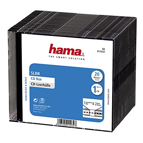 Hama Slim CD Box, pack of 20, black, value pack from Hama