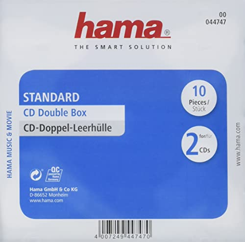 Hama Standard CD Double Jewel Case, pack of 10, transparent/black from Hama
