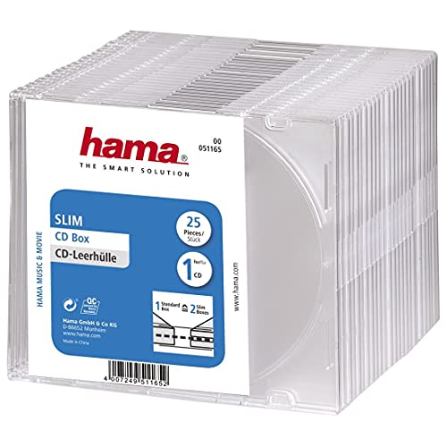 Hama Slim CD Cases Pack of 25 - Transparent from Hama