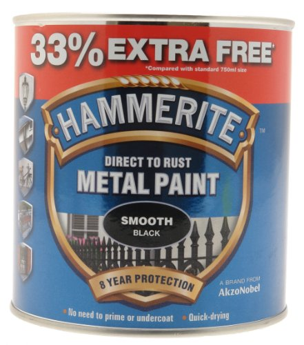 Hammerite 5158235 Metal Paint, Smooth Black, 1L from Hammerite