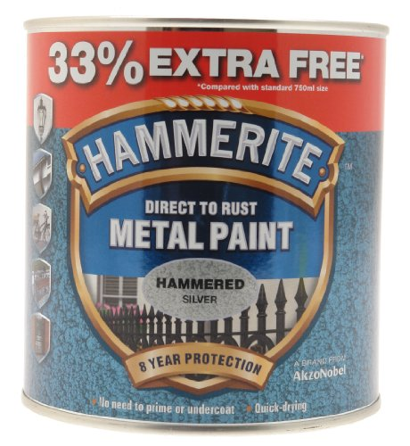 Hammerite 5158236 Metal Paint Hammered Silver - 750ml + 33% Extra Free from Hammerite