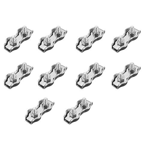 10 x 3mm Duplex Wire Rope Grips Bulldog Stainless Steel Marine Grade from HandyStraps