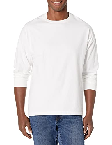 Hanes Men's Beefy Long Sleeve Shirt, White, L from Hanes