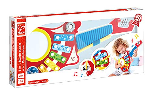 Hape HAP-E0335 6-in-1 Guitar Band, Multi-Colour from Hape