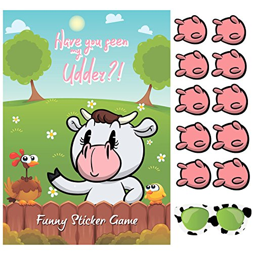 Happium Party Game Pin the Udder on the Cow X 24 udders from Happium