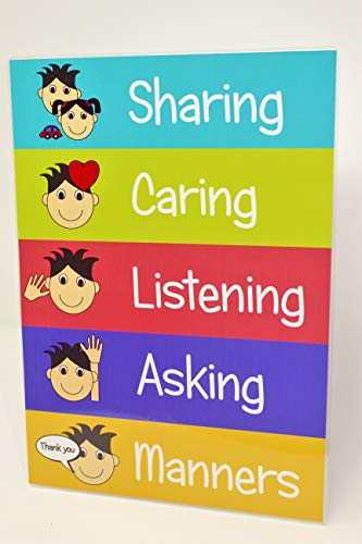 kids2learn SHARING CARING BEHAVIOUR A4 Educational Poster Classroom Nursery Daycare Childminder from kids2learn