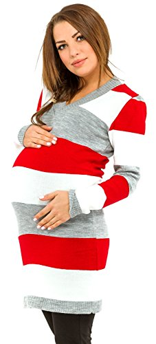 Happy Mama Women's Maternity Stretch Knit Colour Block Jumper Dress Stripes 405p (Red, ONE SIZE UK 8/10/12) from Happy Mama Boutique