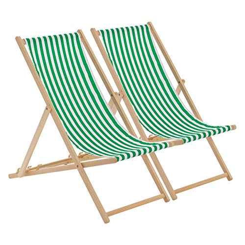 Harbour Housewares Traditional Adjustable Beach Garden Folding Deck Chairs - Green/White Stripe - Pack of 2 from Harbour Housewares