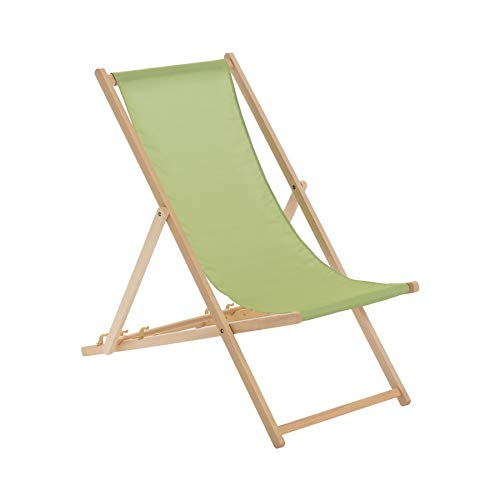 Harbour Housewares Traditional Adjustable Wooden Beach Garden Deck Chair - Lime Green from Harbour Housewares