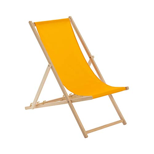Harbour Housewares Traditional Adjustable Wooden Beach Folding Garden Deck Chair - Orange from Harbour Housewares