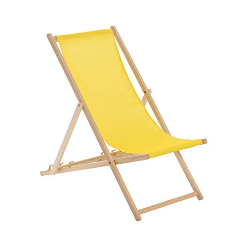 Harbour Housewares Traditional Adjustable Wooden Beach Folding Garden Deck Chair - Yellow from Harbour Housewares