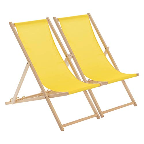 Harbour Housewares Traditional Adjustable Wooden Beach Folding Garden Deck Chair - Yellow - Pack of 2 from Harbour Housewares