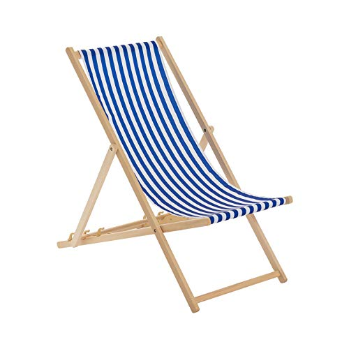 Harbour Housewares Traditional Adjustable Garden/Beach-style Deck Chair - Blue/White Stripe from Harbour Housewares