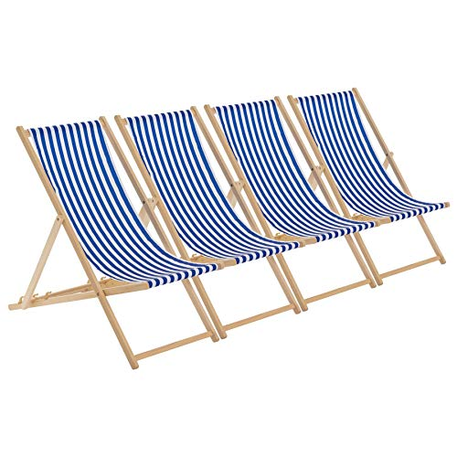 Harbour Housewares Traditional Adjustable Garden/Beach-style Deck Chair - Blue/White Stripe - Pack of 4 from Harbour Housewares