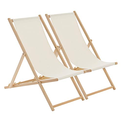 Harbour Housewares Traditional Adjustable Garden/Beach-style Deck Chair - Cream - Pack of 2 from Harbour Housewares