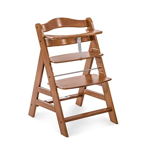 Hauck Alpha+ Wooden Height Adjustable Highchair with 5 Point Harness - Walnut from Hauck