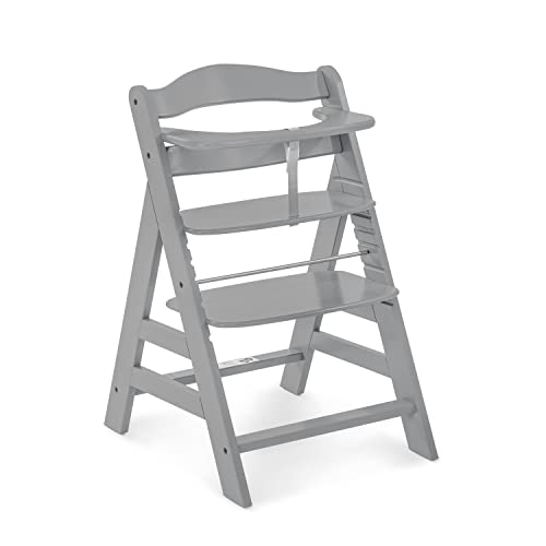 Hauck Alpha+ Wooden Height Adjustable Highchair with 5 Point Harness - Grey from Hauck