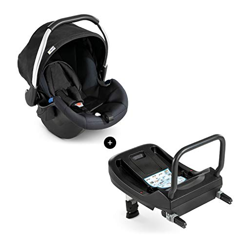 Hauck Comfort Fix Set, Lightweight Group 0 Car Seat with Isofix Base, ECE 44/04 from Birth to 13 kg, Side Impact Protection, Safety Indicators, Travel System, Black from Hauck