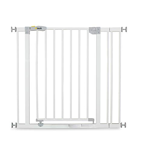 Hauck Open N Stop stair gate including 9 cm extension, gate guard for children, 84 - 89 cm, without drilling, White from Hauck