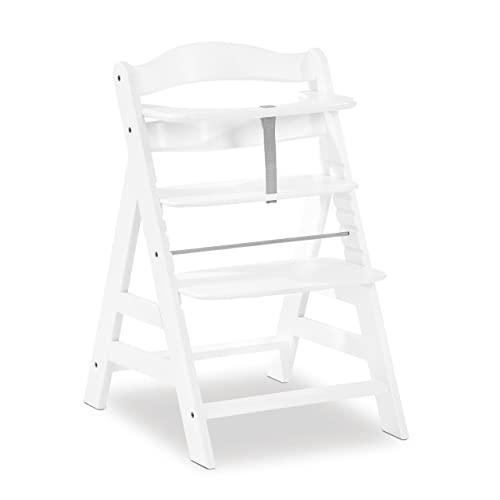 Hauck Alpha+ Wooden Height Adjustable Highchair with 5 Point Harness - White from Hauck